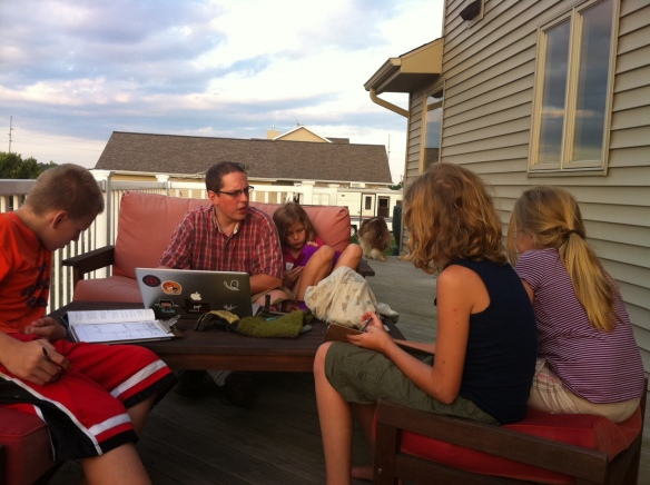 On the deck with the family