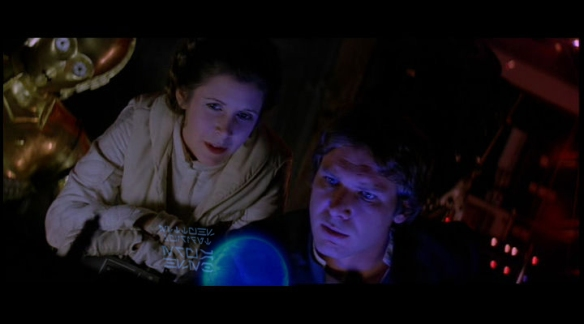 Han and Leia looking through starship database