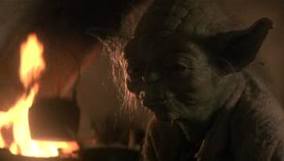 Yoda talking with Luke on Dagobah