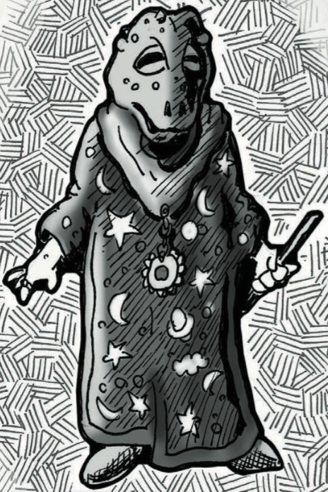Frog-headed humanoid with wand and wizard robes