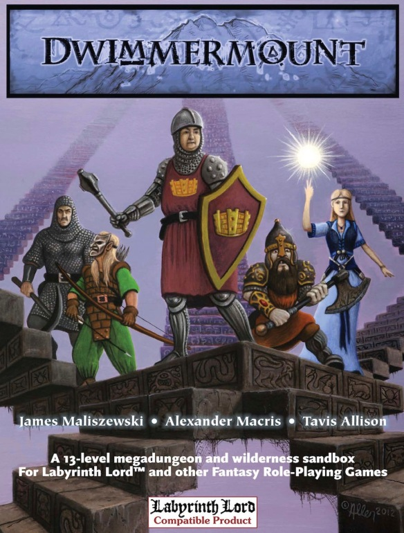 Five fantasy adventurers standing on floating stairs.